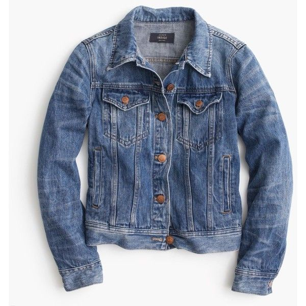 J.Crew Denim Jacket ($155) ❤ liked on Polyvore featuring outerwear, jackets, denim, denim jacket, coats & jackets, j crew, tailored jacket, tailored denim jacket, fitted jean jacket and blue jackets