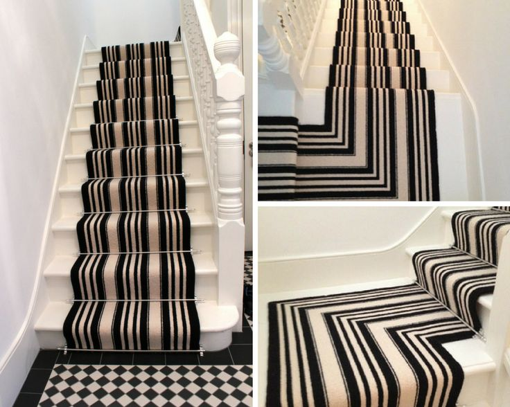 Best Black And White Striped Stair Carpet Carpet Stairs 400 x 300