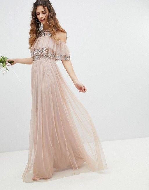 c97339077262 Maya | Maya Cold Shoulder Ruffle And Sequin Detail Tulle Maxi Bridesmaid  Dress