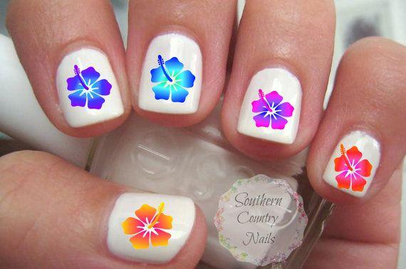 Fleur d'Hibiscus Nail Art Stickers par SouthernCountryNails sur Etsy