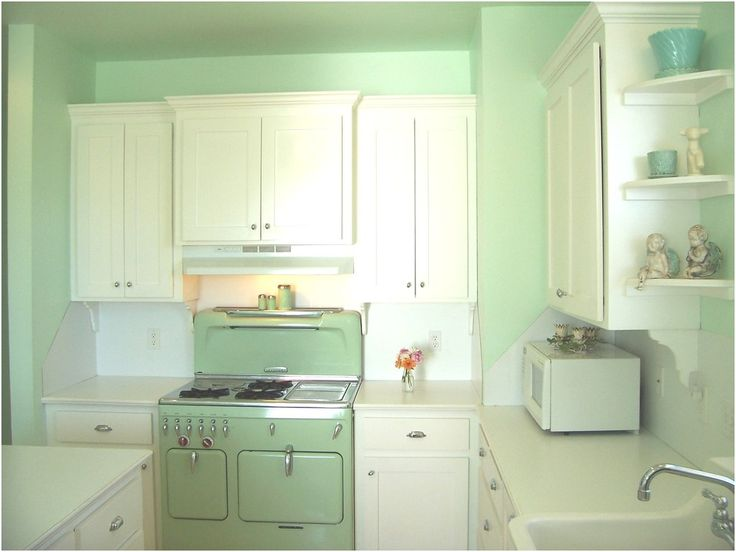 Light Green Kitchen Furniture In Vintage Style
