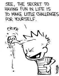 """Calvin and Hobbes QUOTE OF THE DAY (DA): """"See, the secret to having fun in life is to make little challenges for yourself."""" -- Calvin/Bill Watterson"""