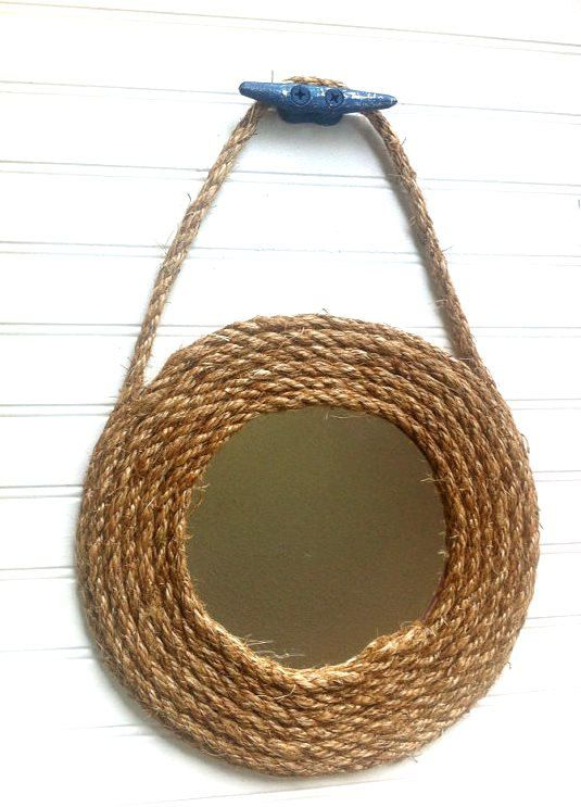 Large Rope nautical mirror boat cleat round beach island mermaid pirate fishing nursery decor circular bath bathroom vanity bedroom closet on Etsy, $38.00