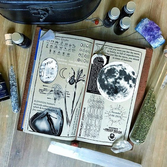 Instagram photo by @kateholderness • Supermoon 2016 Midori Travelers Notebook Journal Page #Crystals #Magic #Witch #Moon