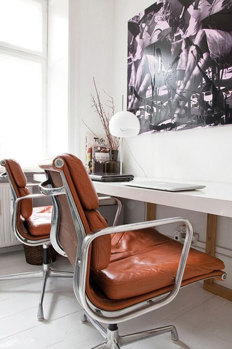 Cognac leather chairs