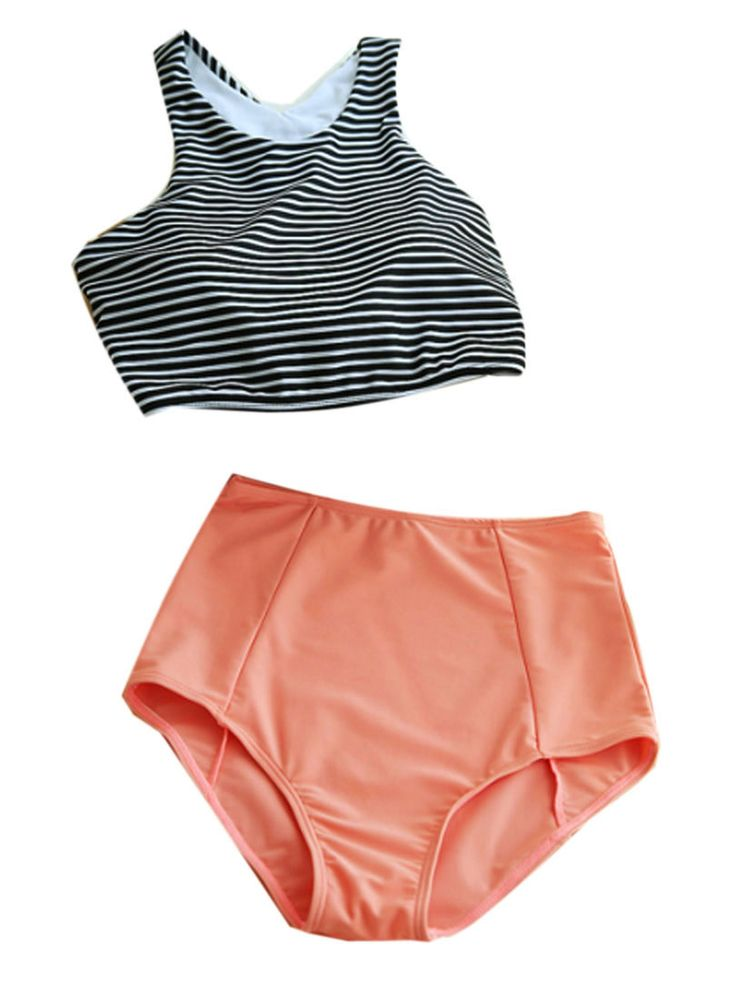 Monochrome Stripe Bikini Top And Pink High Waist Bottom