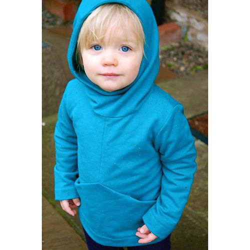 Two Stitches Charlie Hoodie and Tunic Sewing Pattern - A modern version of the classic hoodie, this unisex pattern has a geometric twist with a triangular front panel, hidden pockets and a funnel neck hood to give a more contemporary feel.  The pattern includes a longer A-line version for a tunic dress.  ::  $7.50
