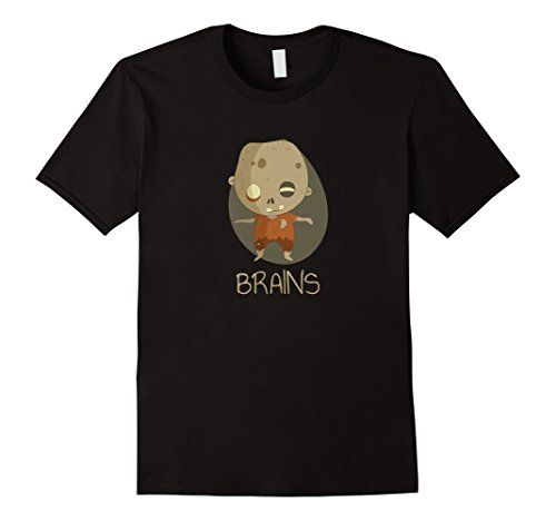 Zombie Brains Cute Funny Creepy Halloween T-Shirt. Love zombies? You love this little cute zombie character shuffling along looking for brains. Perfect shirt to get in the Halloween spirit. If your a fan of Halloween and all things creepy then this is the perfect shirt for you! With the creepy but cute little zombie