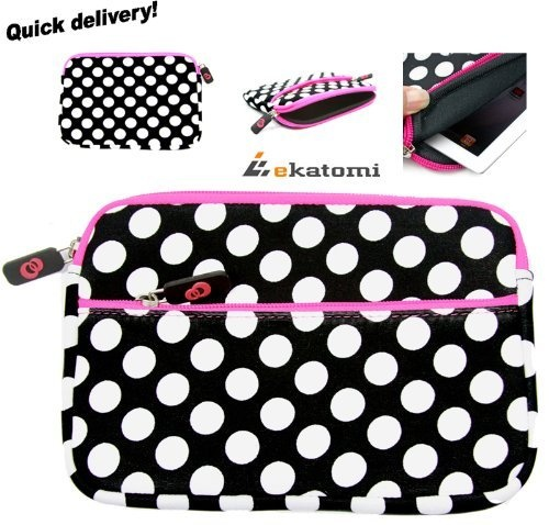 "On-the-go Body Glove Sleeve Cover Case for 8.9"" Samsung Galaxy Tab Tablet - Pink Black White Polkadots Pattern. Bonus Mini Stylus & Carabina Hook! by Kroo, http://www.amazon.com/dp/B009PPLIZ2/ref=cm_sw_r_pi_dp_HBG2qb17S3F5Z"