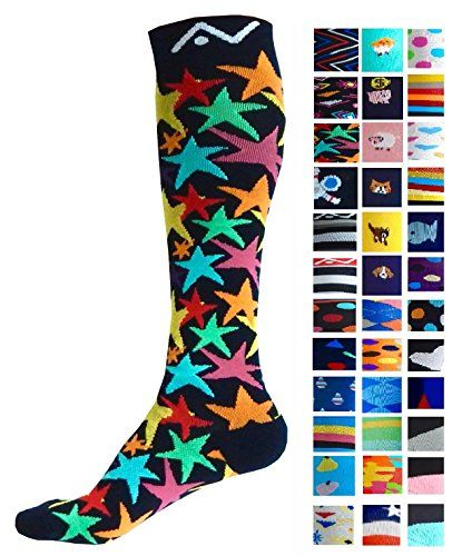 Compression Socks (1 pair) for Women & Men by A-Swift - Graduated Athletic Fit for Running Nurses Flight Travel Skiing & Maternity Pregnancy - Boost Stamina & Recovery (Stars L/XL)