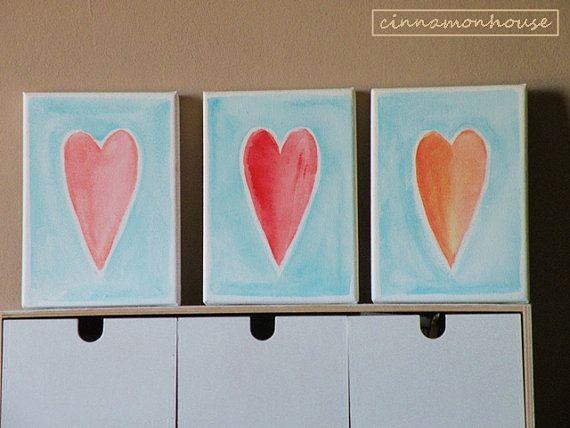 Three hearts  oryginal nursery decor. Handmade by cinnamonnhouse
