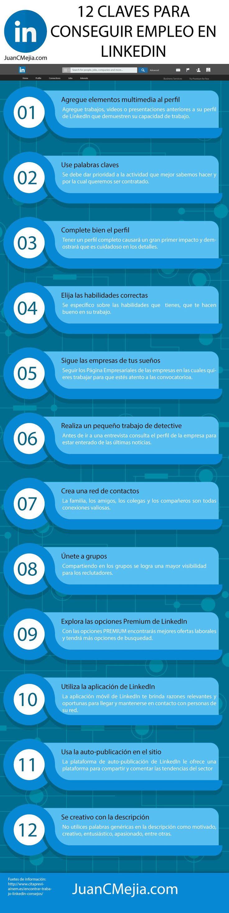 12 claves para conseguir empleo en LinkedIn #infografia