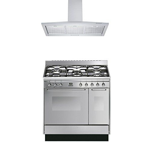 smeg range cooker with cookology cooker hood pack cucina double cavity dual fuel range cooker u0026 cookology stainless steel cooker hood uk appliances
