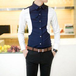 Stylish Slimming Shirt Collar Stereo Clipping Color Block Long Sleeves Polyester Shirt For Men