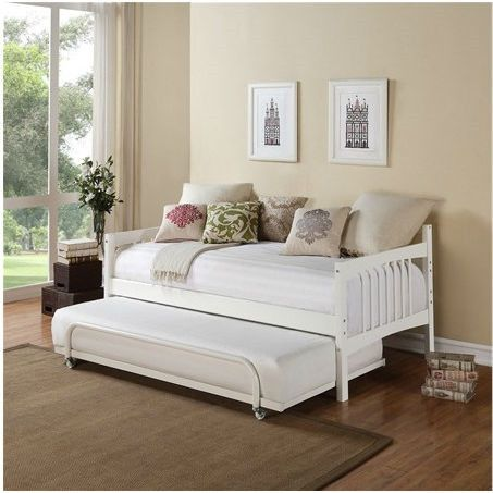 Twin Size Daybed In White Wood Finish Trundle Sold