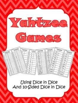 Here's a twist on an old favorite. Try out this set of Yahtzee boards for playing with dice-in-dice and 10-sided dice.