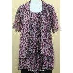 Plus Size Ladies Layered Long Blouse Pink Cheetah and Plum Splash: Size 18 - 30