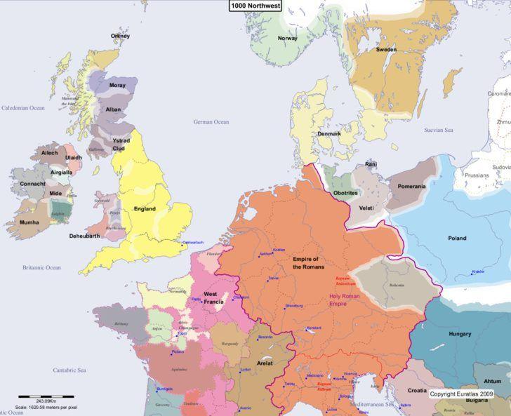 Map showing Europe 1000 Northwest