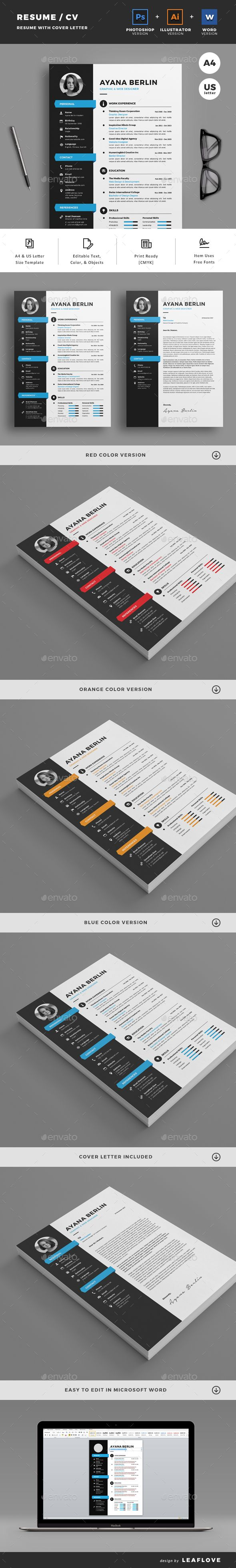 graphic design resume template%0A Professional  clean   u     creative resume template designed to make a good  impression