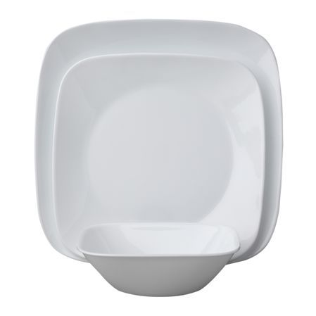 Corelle® Square™ dinnerware features sleek, squared shapes with rounded corners and flared rims which fuse seamlessly with the traditional rounded centers. The result is a totally fresh, yet timeless look—versatile enough for every day dining as well as for entertaining.