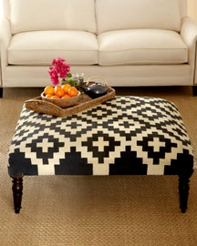 """Bolivar"" Kilim Ottoman....yes, it's beautiful; but why not cover an old coffee table with an interesting rug."