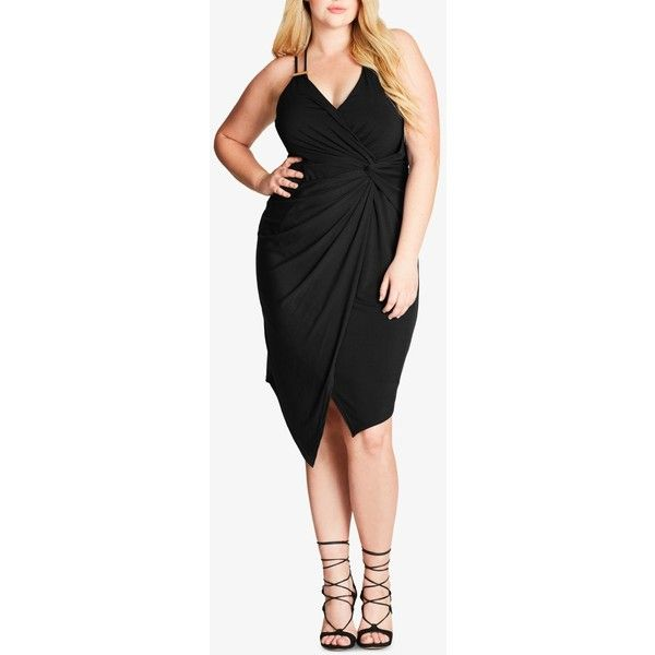 City Chic Trendy Plus Size Faux-Wrap Bodycon Dress ($89) ❤ liked on Polyvore featuring plus size women's fashion, plus size clothing, plus size dresses, black, plus size faux wrap dress, sexy plus size cocktail dresses, women plus size dresses and sexy cocktail dresses