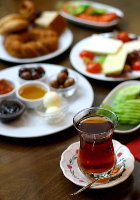 A typical Turkish breakfast consists of feta cheese,  olives, eggs, tomatoes, cucumbers, green peppers jam/marmalade(fruit preserves), butter, honey and most importantly fresh brewed hot tea!