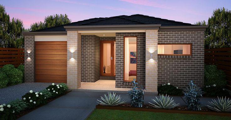 Burbank homes - Amber Design Segal facade. Brick pillars frame front porch.