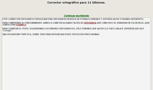 Corrector Ortográfico, gratuito y online, para 11 idiomas