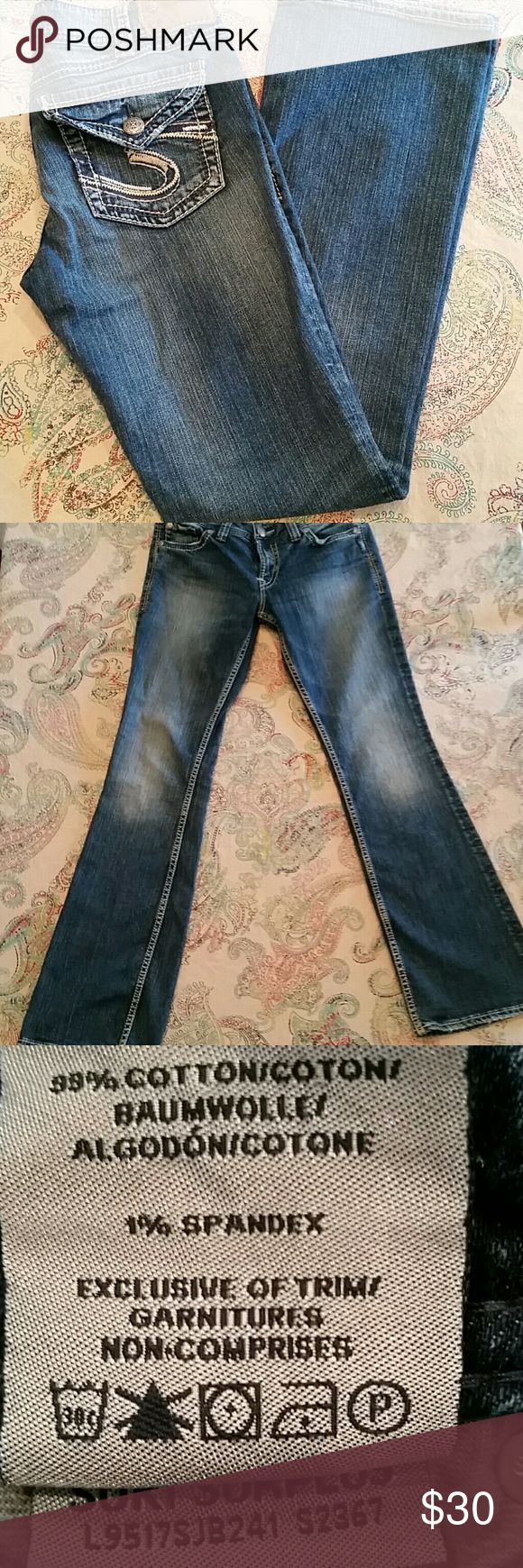 """Silver Suki Surplus stretch jeans Silver Suki Surplus jeans with stretch.  Back pockets have flap closure with button.  14 1/2"""" across the top, 8"""" rise and 31"""" inseam Silver Jeans Jeans Boot Cut"""