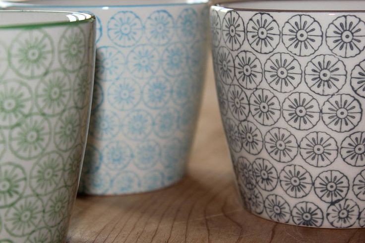 set of three hand printed porcelain mugs by the forest & co | notonthehighstreet.com