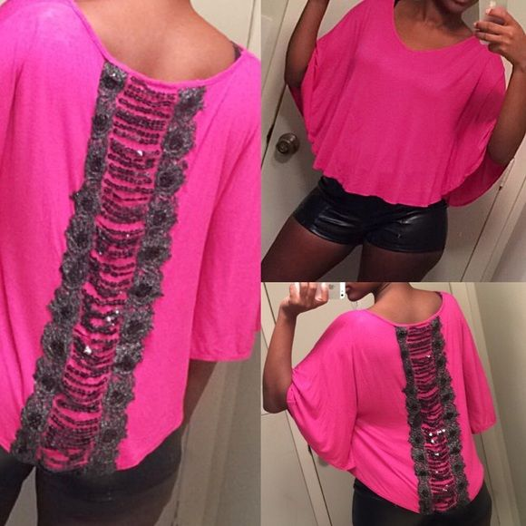 Batwing Top Pink batwing top with sequined back Annabelle Tops