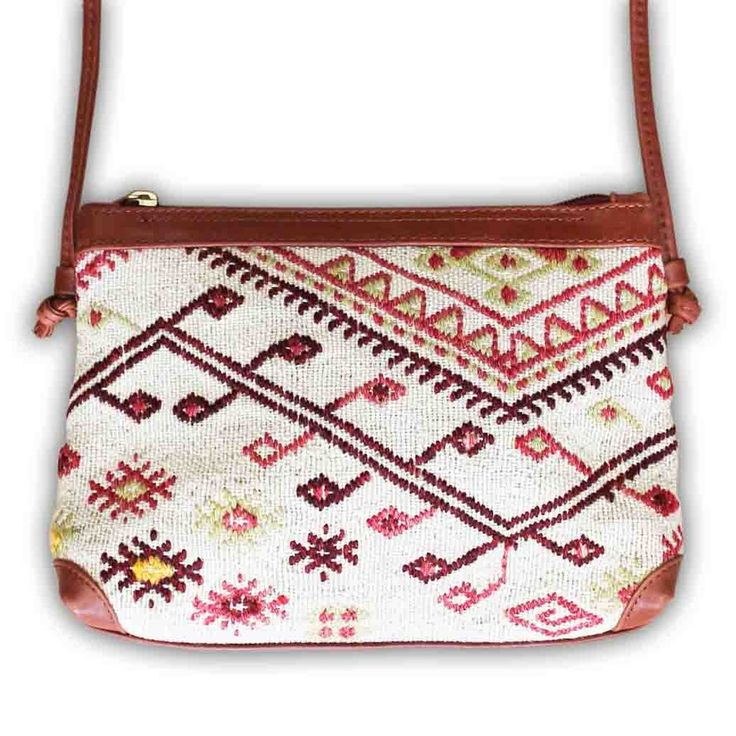 Artemis :: Cross body bag handmade from antique kilim carpet and leather.