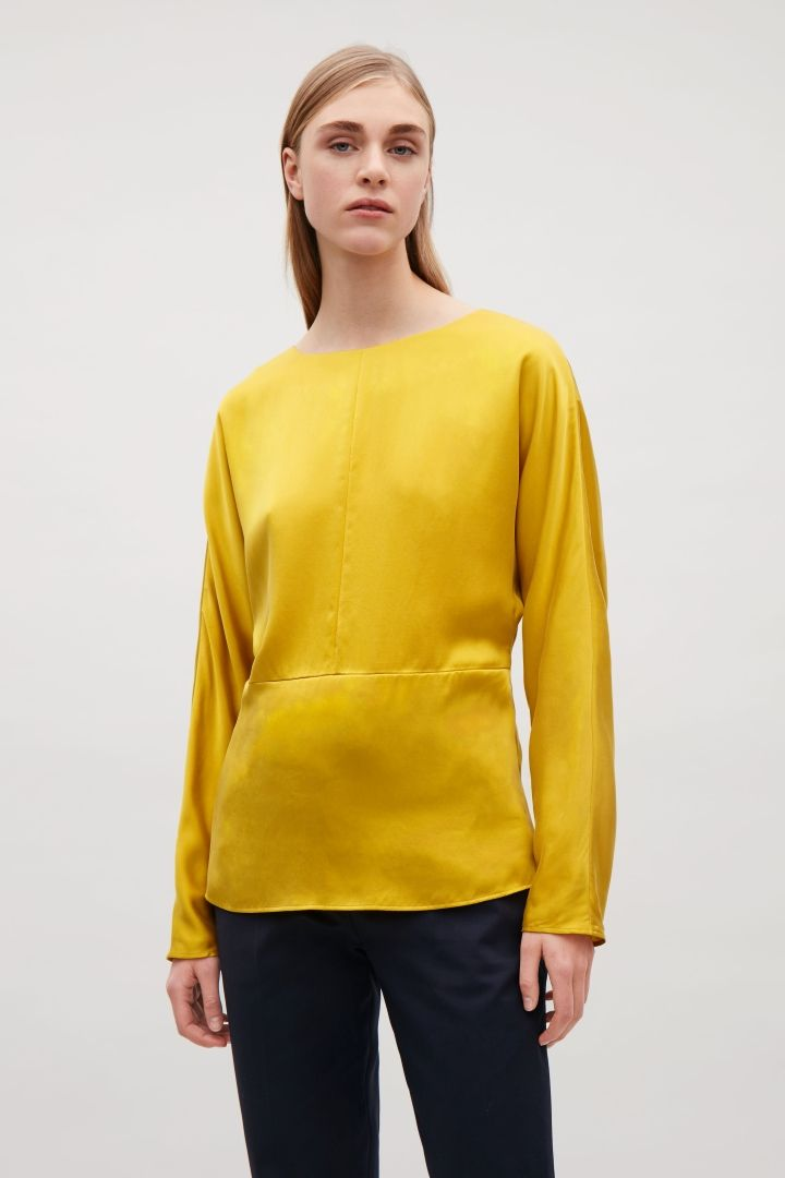 COS image 2 of Batwing-sleeved silk top  in Yellow