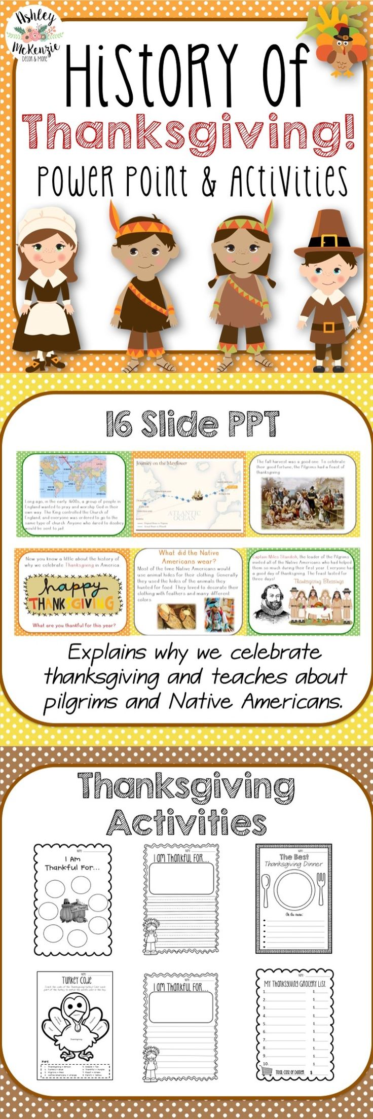 Teach your students about the history of Thanksgiving with this power point and activities bundle!