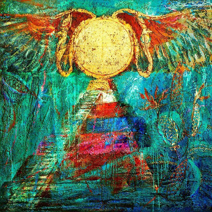 """BABYLON"", acrylic on canvas, relief pastes, 163x163. ""ВАВИЛОН"", 2012, холст, рельефные пасты, золотая фольга, акрил, 163х163 см.  more - https://www.facebook.com/boris.lavrentyev/media_set?set=a.697715290257815.1073741826.100000580506699&type=3"