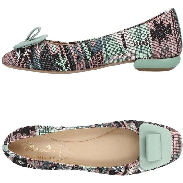 Magli By Bruno Magli Ballet Flats ($325) ❤ liked on Polyvore featuring shoes, flats, light green, colorful flats, ballerina shoes, multi color flats, leather flat shoes and leather ballet flats