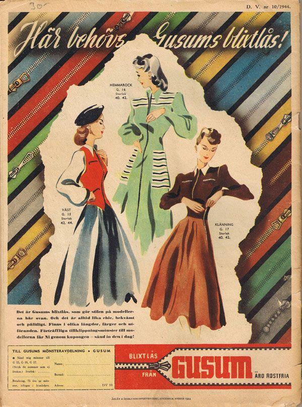 Gusum tillverkade blixtlås från 1931 till 1988 då de gick i konkurs. Annons från 1944.