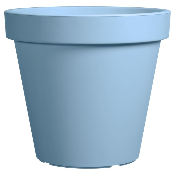 Strakke bloempot FLEURI met heldere blauwe kleur. 30 cm doorsnede. #tuin #bloempot #KwantumLente