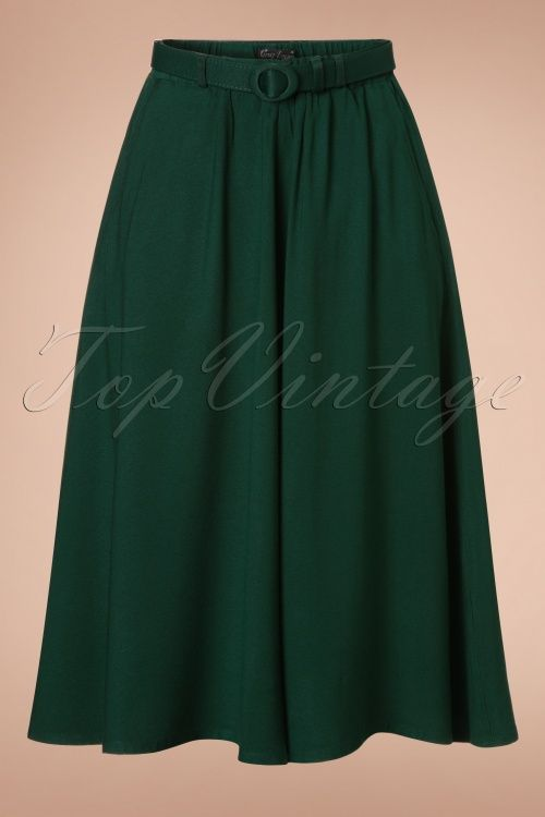 King Louie - 50s Belted Serena Skirt in Sycamore Green