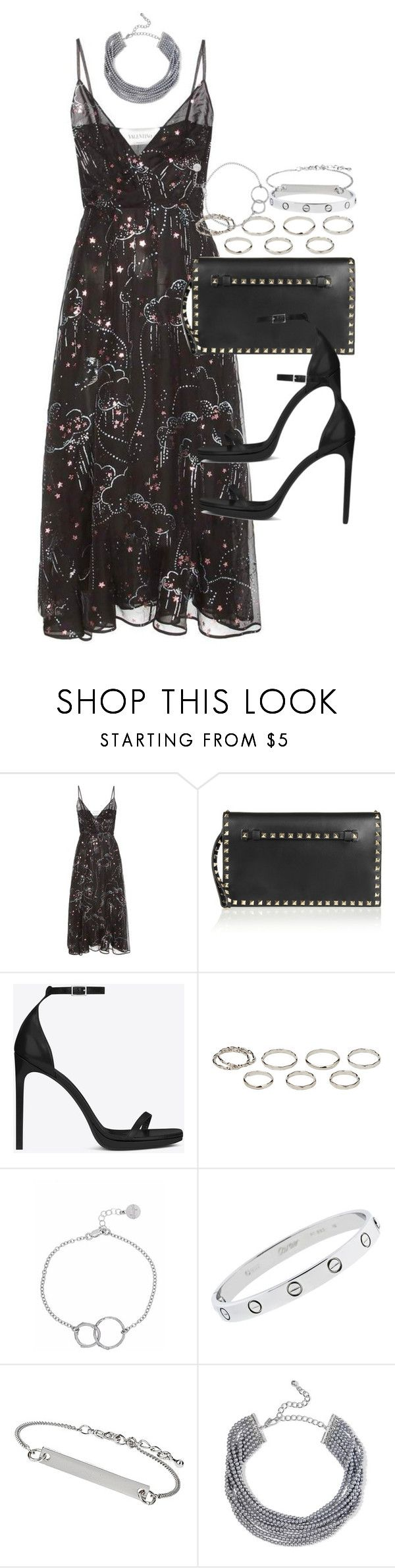 """Sin título #4263"" by hellomissapple on Polyvore featuring moda, Valentino, Yves Saint Laurent, Akira, Chupi, Cartier, Topshop y Kenneth Jay Lane"