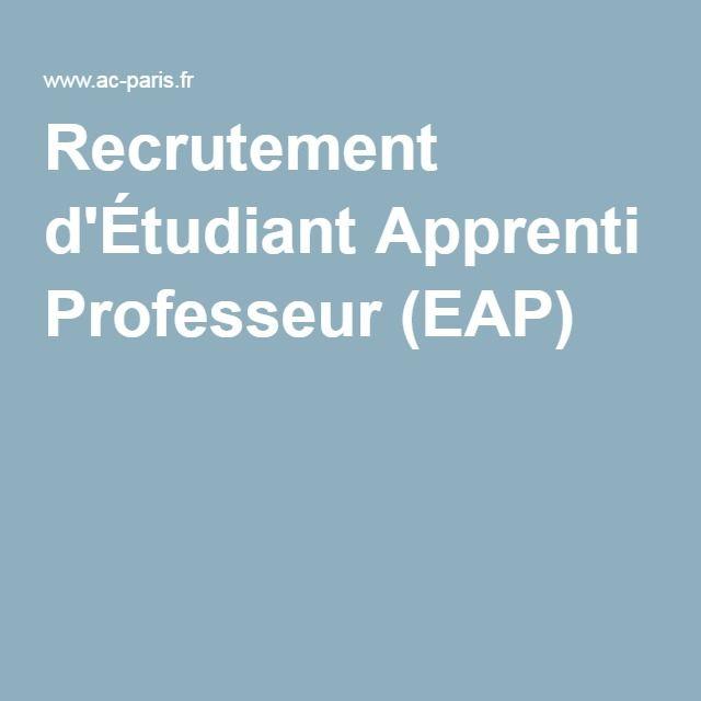 Recrutement d'Étudiant Apprenti Professeur (EAP)
