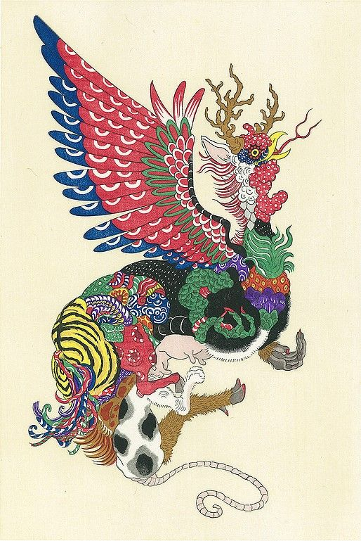 """Over 150 years ago the ukiyo-e artist Shigematsu Enrosai created an imaginary beast as a woodblock print and called it """"Twelve Precepts."""" The beast featured the head of a rabbit, the neck of a dragon, the tail of a snake, the forelegs of a monkey and the hind legs of an ox. Indeed, it was a fantasti"""