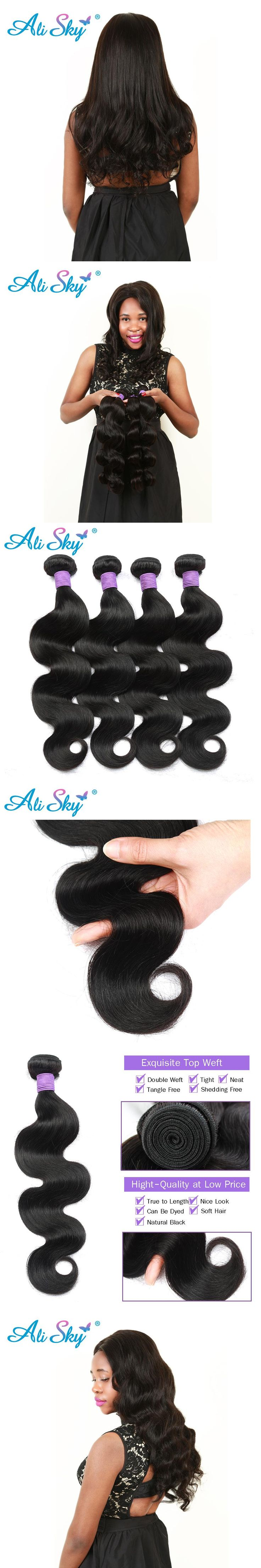 "Ali Sky Hair Peruvian nonremy Hair Body Wave 8""-26"" 1pc Human Hair Bundles Weave Natural Color 1B# for Black Women Can Be Curled"
