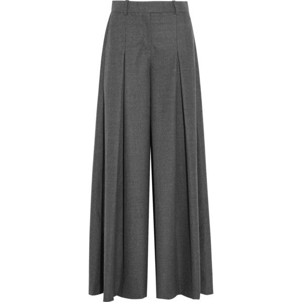 J.Crew Mia wool-flannel wide-leg pants ($490) ❤ liked on Polyvore featuring pants, grey, gray flannel pants, zip pants, flannel pants, wide leg pants and grey flannel trousers