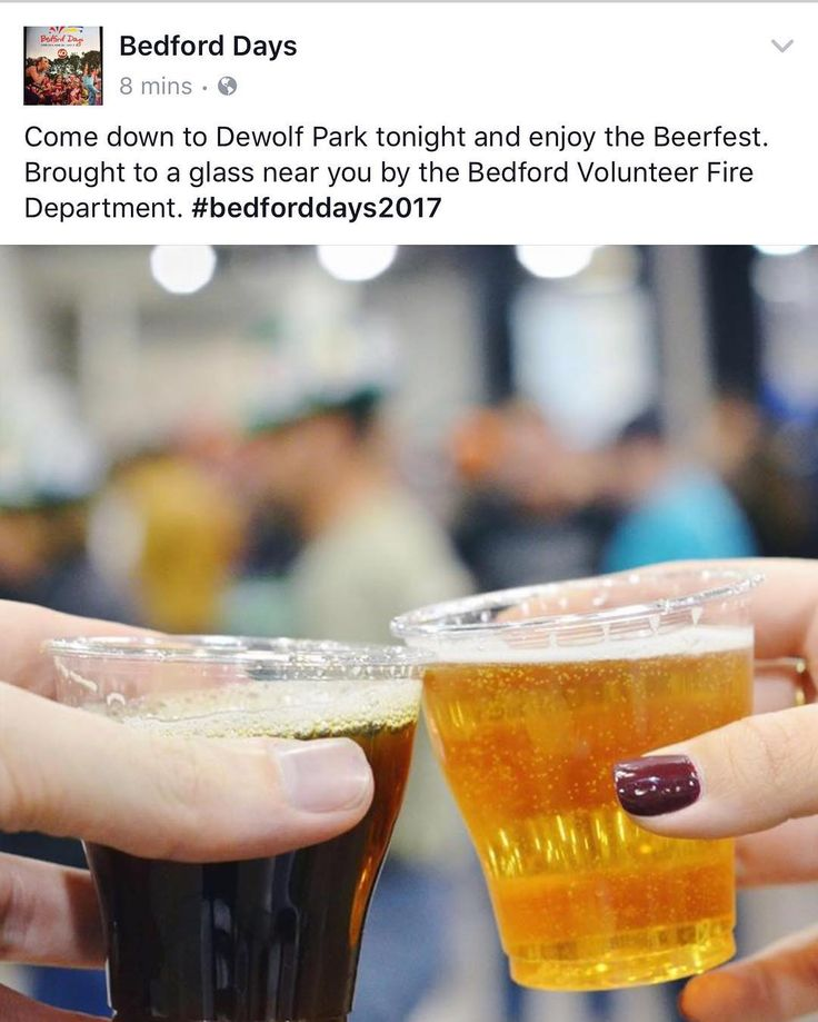TONIGHT at Dewolf Park #bedforddays2017  BEDFORD VOLUNTEER FIRE DEPARTMENT BEER FEST 19 DRINK RESPONSIBLY . Friday June 30 DeWolf Park 6pm - Midnight FREE . A lively evening featuring a foot stompin good time with the Evan Meisner band and DJ music. Cash bar. . If you choose to consume alcohol we encourage you to follow The National Low Risk Drinking Guidelines. The Halifax Regional Municipality strongly promotes not drinking and driving and encourages the use of a designated driver…