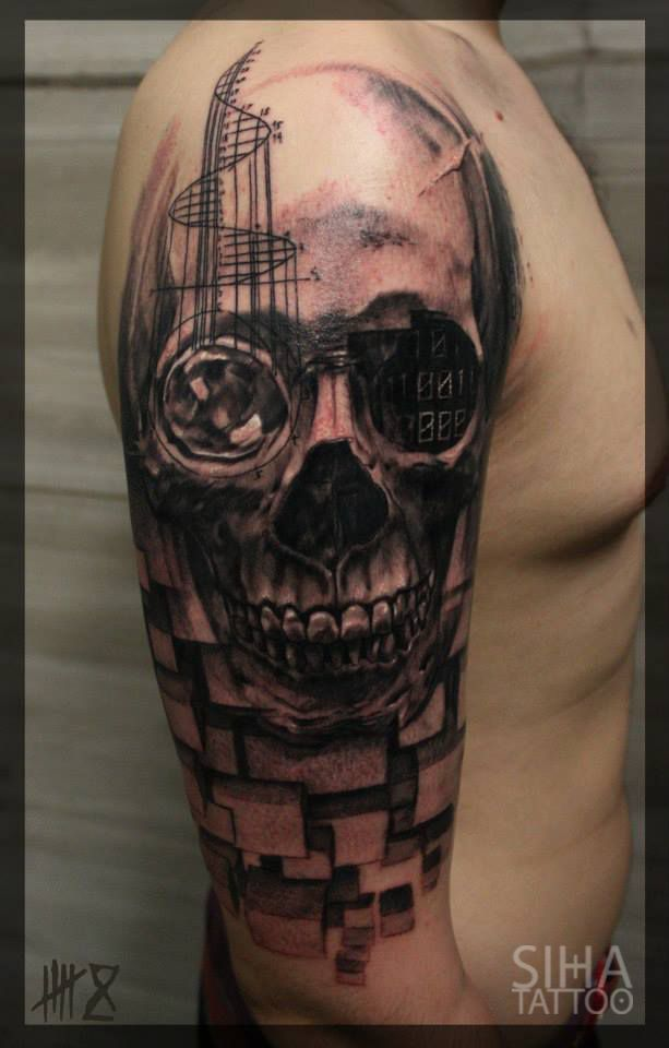 cyberskull tattoo done by mocho at siha tattoo barcelona tatoos pinterest tatuajes. Black Bedroom Furniture Sets. Home Design Ideas