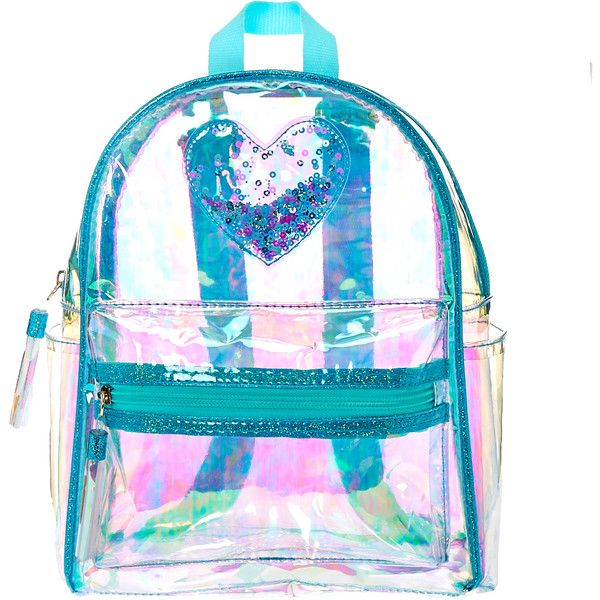 Clear Iridescent Mint Mini Backpack ($25) ❤ liked on Polyvore featuring bags, backpacks, see through backpack, sequin backpack, blue backpack, blue sequin backpack and backpack bags