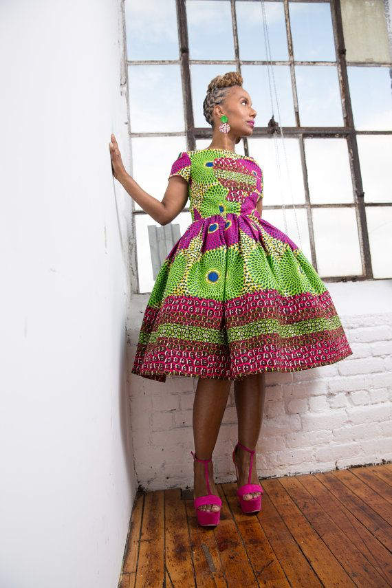 African clothing: Exclusive The Li Li Afro Belle Dress Made from  Dutch African Wax