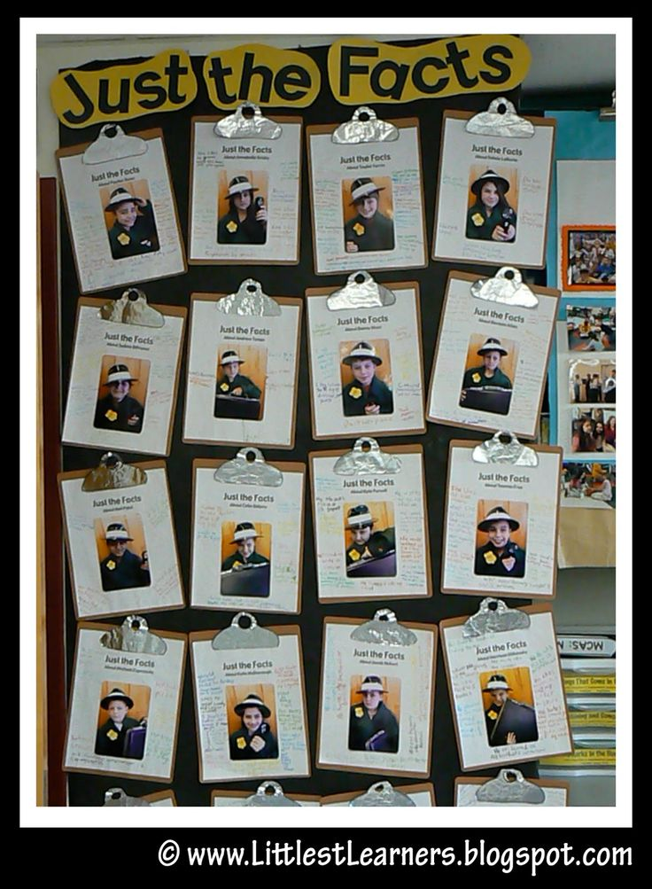 "UST THE FACTS: This was another favorite. I took a picture of each friend wearing a detective hat and a trenchcoat with a badge. The printed page read, ""Just the Facts About (insert student name)."" The children then wrote interesting facts about themselves on the paper. I mounted each onto brown cardstock, rounded the corners and used aluminum foil to make them look like clipboards."